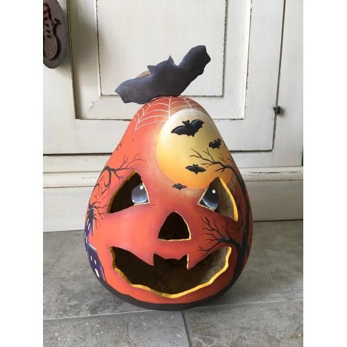 Zucca vera dipinta Halloween Gourd